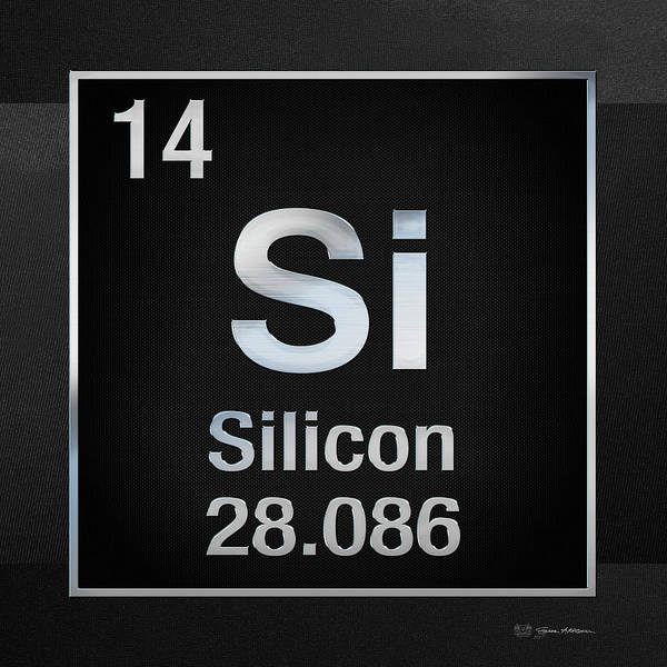 Digital Art - Periodic Table Of Elements - Silicon - Si - On Black Canvas by Serge Averbukh