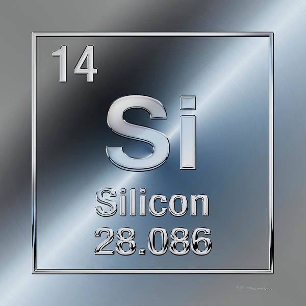 Digital Art - Periodic Table Of Elements - Silicon - Si  by Serge Averbukh