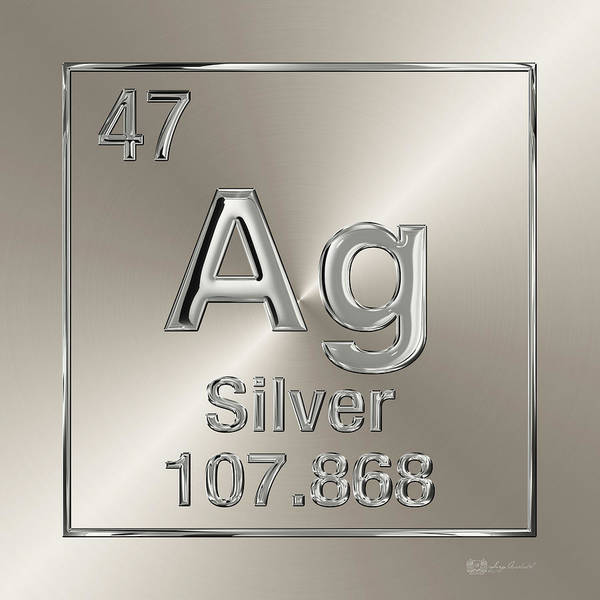 Digital Art - Periodic Table Of Elements - Silver - Ag by Serge Averbukh