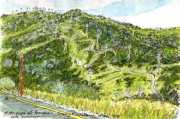 New South Wales Drawing - Perisher by Anne Huth