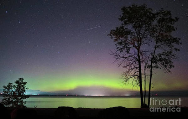 Perseid Wall Art - Photograph - Perseid Meteor And Aurora by Charline Xia