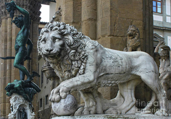 Photograph - Perseus And Lion In The Loggia Della Signoria In Florence Italy by Gregory Dyer