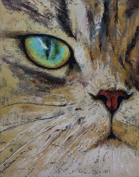 Looking Up Painting - Persian Cat by Michael Creese