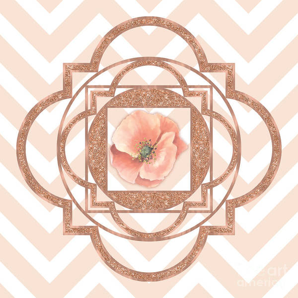 Seamless Painting - Persian Poppy, Rose Gold Quatrefoil, Chevron by Tina Lavoie