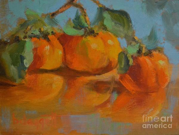 Wall Art - Painting - Persimmons And Blue by Barbara Daggett