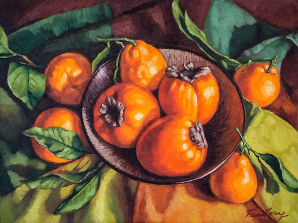 Persimmon Painting - Persimmons And Mandarins by Fiona Craig