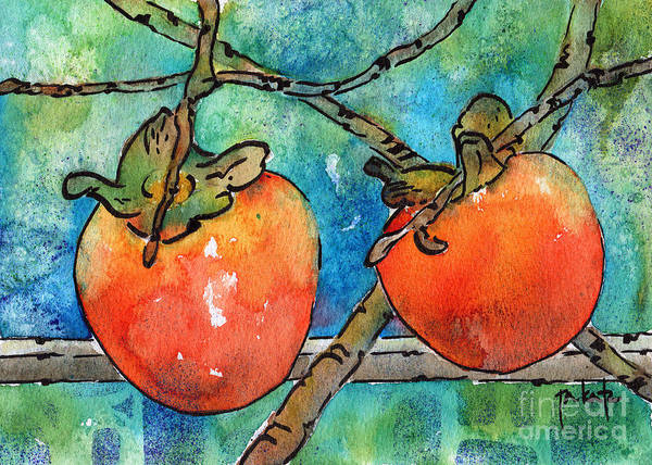 Persimmon Painting - Persimmons Of Provence by Pat Katz