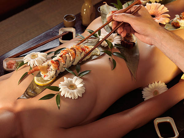 Erotism Photograph - Person Eating Nyotaimori Body Sushi by Oleksiy Maksymenko