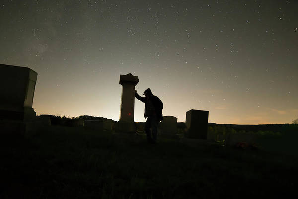 Photograph - Person Leaning On A Tombstone by Dan Friend