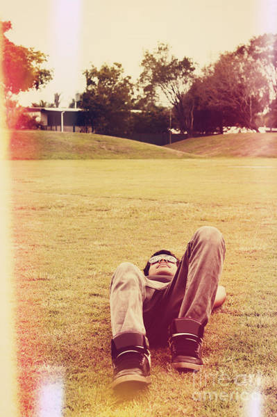 Colorized Photograph - Person Lying Down On Back At The Local Park by Jorgo Photography - Wall Art Gallery
