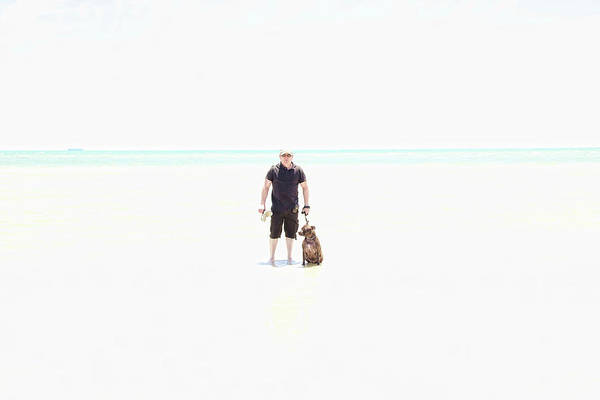 Low Key Digital Art - Person On The Beach With Their Dog by Shaun Poole