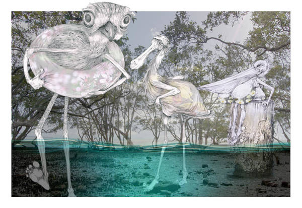 Pelican Mixed Media - Personification-nudgee Beach by Danielle Latta