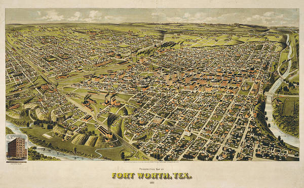 Wall Art - Painting - Perspective Map Of Fort Worth, Tex. 1891 by Henry Wellge
