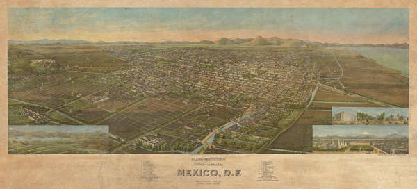 Wall Art - Painting - Perspective Map Of The City And Valley Of Mexico by Henry Wellge