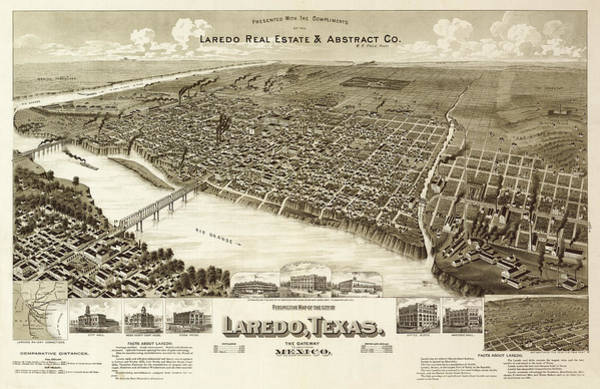 Gateway Painting - Perspective Map Of The City Of Laredo, Texas, The Gateway To And From Mexico by American Publishing