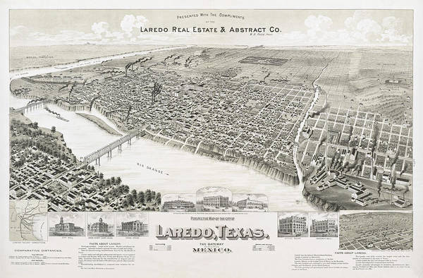 Wall Art - Painting - Perspective Map Of The City Of Laredo, Texas. The Gateway To And From Mexico by Henry Wellge