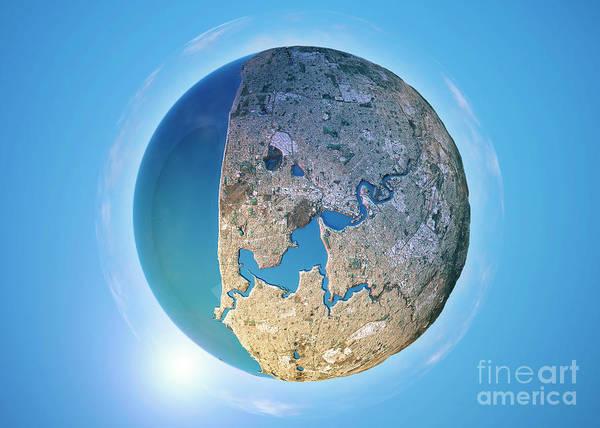Little Planet Digital Art - Perth 3d Little Planet 360-degree Sphere Panorama by Frank Ramspott