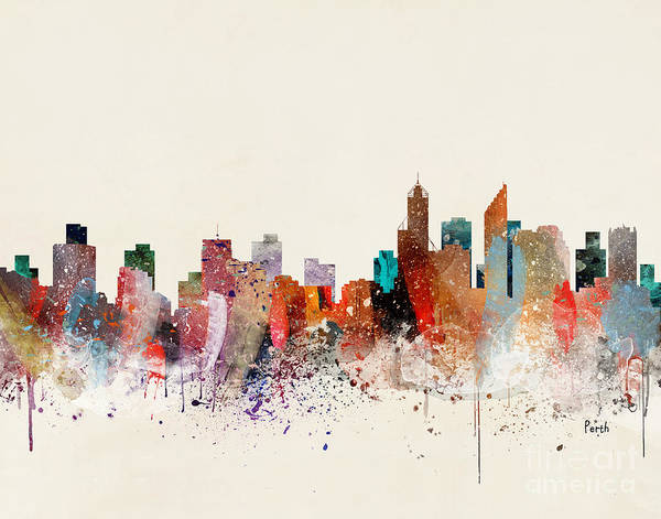 Wall Art - Painting - Perth Skyline by Bri Buckley