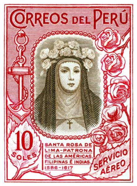 Virgen Digital Art - Peru 1937 Santa Rosa De Lima Postage Stamp by Retro Graphics