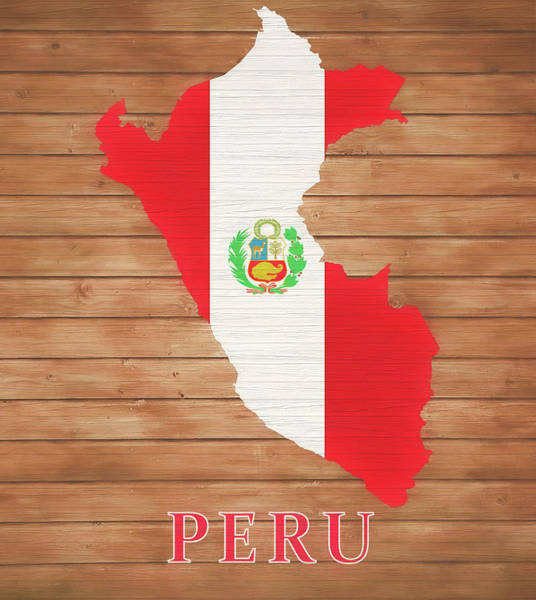 Flag Of Chile Wall Art - Mixed Media - Peru Rustic Map On Wood by Dan Sproul