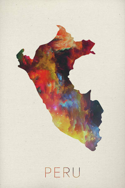 South America Mixed Media - Peru Watercolor Map by Design Turnpike