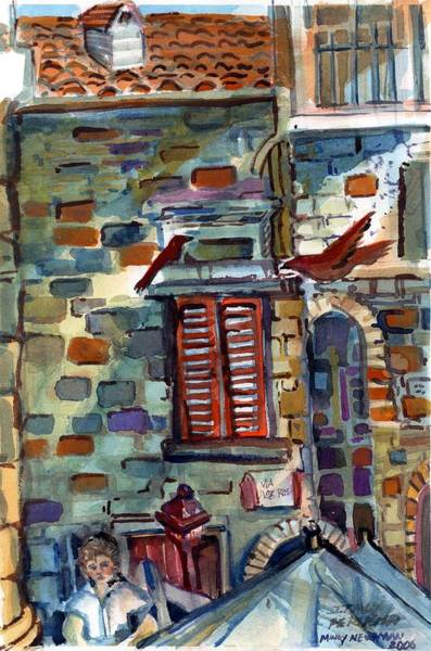 Wall Art - Painting - Perugia Street Cornor by Mindy Newman