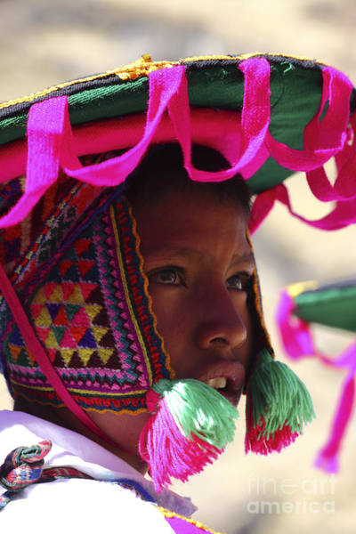 Photograph - Peruvian Boy In Traditional Dress by James Brunker