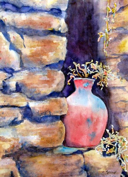 Potted Plant Painting - Peruvian Pot by Marsha Elliott