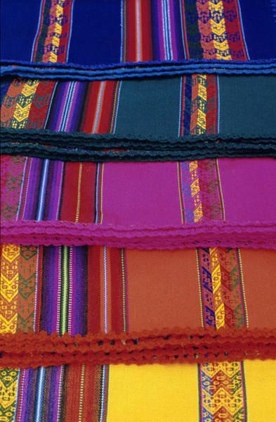 Wall Art - Photograph - Peruvian Textiles At Pisac Market by Liz Pinchen