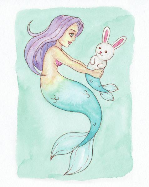 Inking Painting - Pet Mermaid - Mermay 2018 by Armando Elizondo