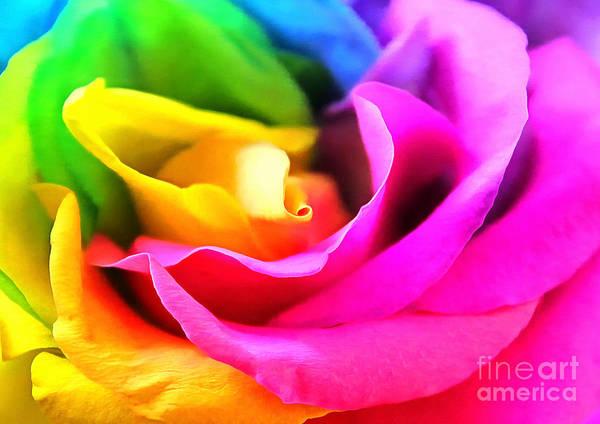 Rainbow Rose Wall Art - Photograph - Petals Of Harmony by Krissy Katsimbras