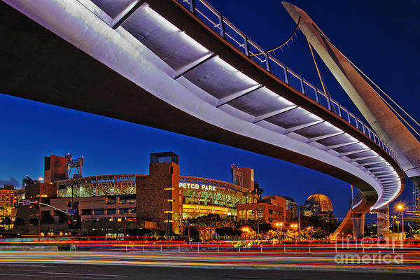Petco Park And The Harbor Drive Pedestrian Bridge In Downtown San Diego  Art Print