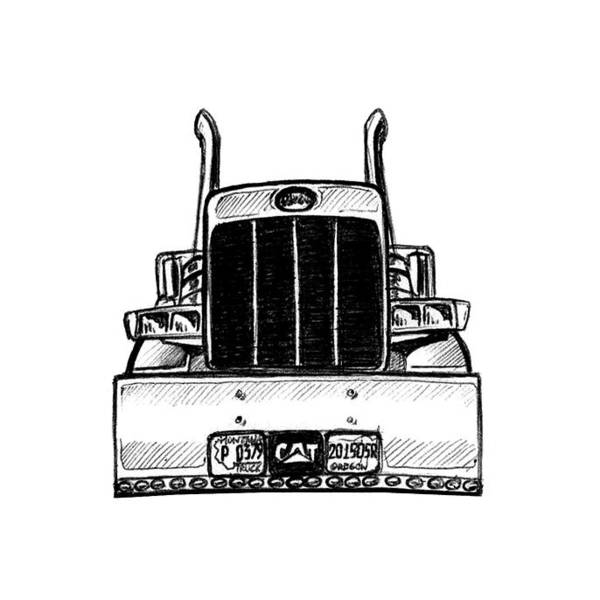 Semi Truck Drawing - Pete 379 Front View by Rustam Suleymanov