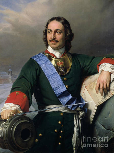 Sword Painting - Peter I The Great by Delaroche