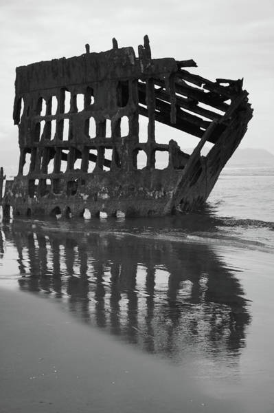 Shipwreck Digital Art - Peter Iredale Shipwreck In Black And White by Art Spectrum