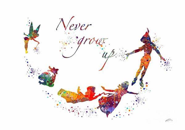 Disney Digital Art - Peter Pan Quote  by Svetla Tancheva