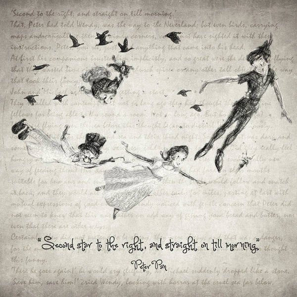 Wall Art - Drawing - Peter Pan Quote by Zapista Zapista