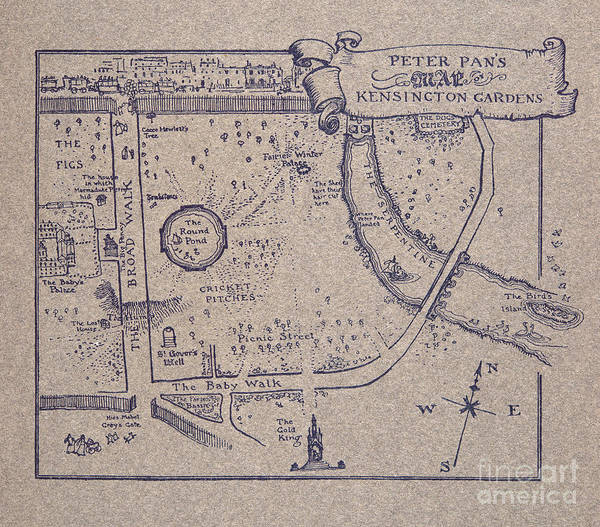 Wetland Drawing - Peter Pan's Map Of Kensington Gardens by Arthur Rackham