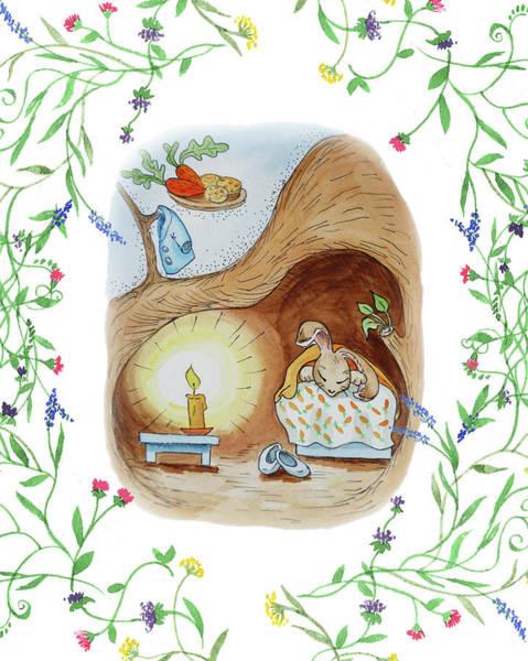 Carrot Painting - Peter Rabbit Watercolor Illustration II by Irina Sztukowski