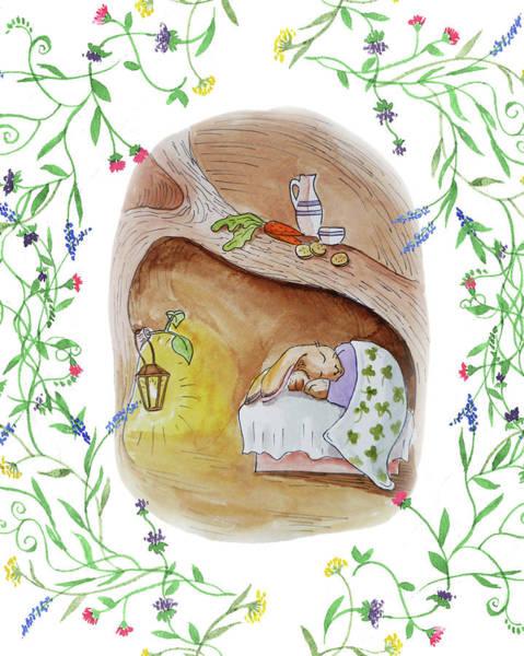 Carrot Painting - Peter Rabbit Watercolor Illustration IIi by Irina Sztukowski