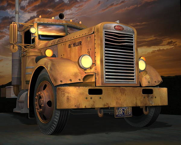 Wall Art - Digital Art - Peterbilt Ol Yeller by Stuart Swartz