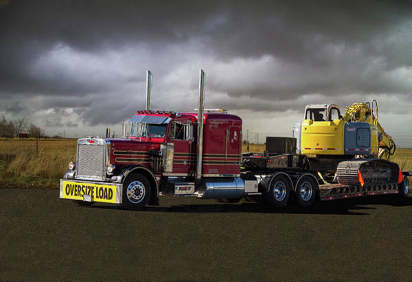 Excavator Photograph - Peterbilt Semi Truck With Oversize Load by Nick Gray