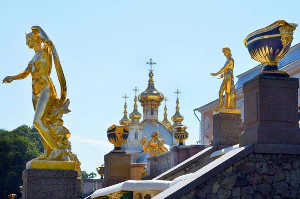 Wall Art - Photograph - Peterhof Palace Statues. by Terence Davis