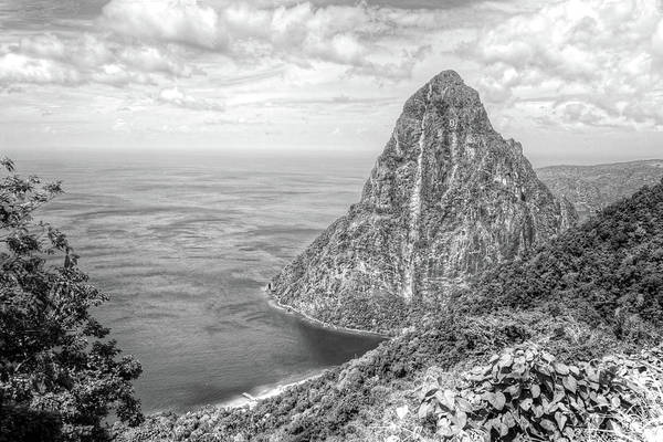Photograph - Petit Piton Saint Lucia Caribbean Black And White by Toby McGuire