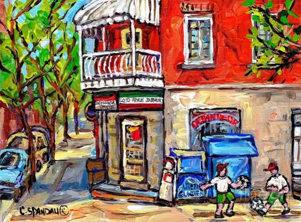 Painting - Petite Italie Montreal Scene De Ville En Ete Avec Partie De Soccer De Rue Peinture Original  by Carole Spandau