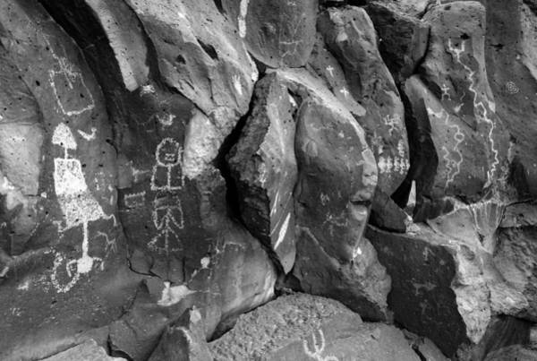Kokopelli Photograph - Petroglyph Panel B/w by Glory Ann Penington