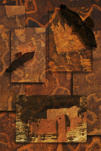 Petroglyphs Red Tailed Hawk Art Print