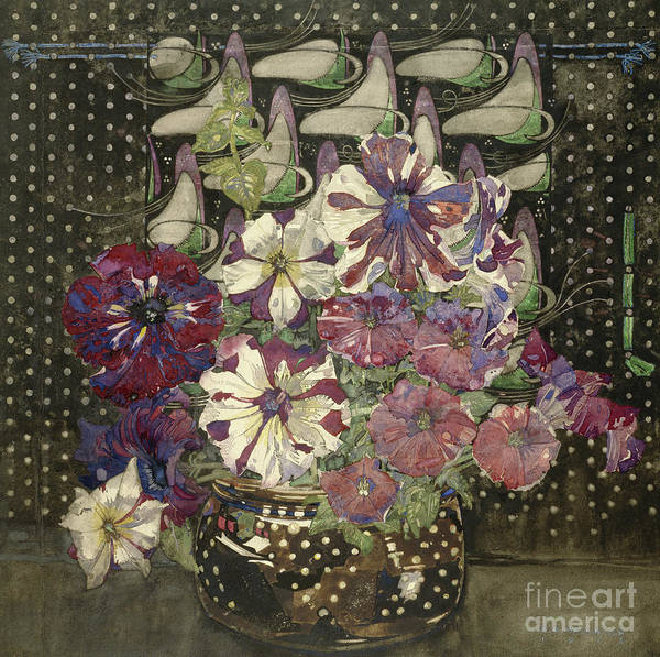 Wall Art - Painting - Petunias, 1916  by Charles Rennie Mackintosh