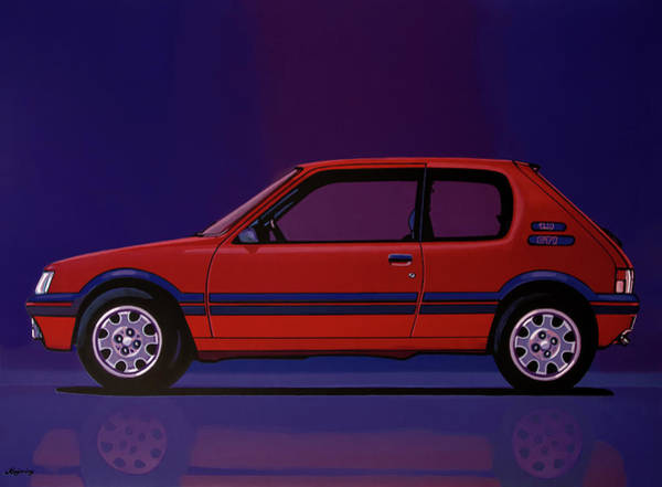 Oldtimer Wall Art - Painting - Peugeot 205 Gti 1984 Painting by Paul Meijering
