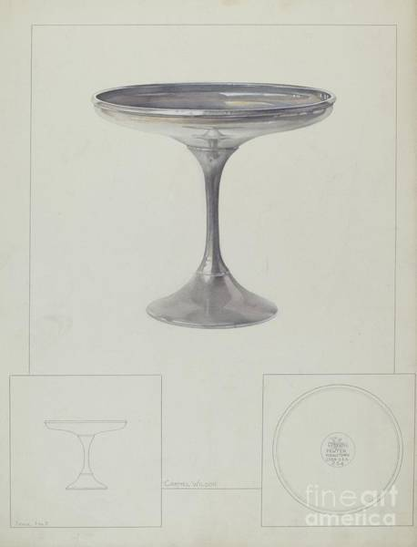 Wall Art - Drawing - Pewter Compote by Carmel Wilson